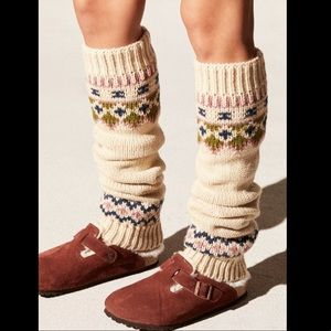 Free People tanblue pink Slouchy Thick Legwarmers